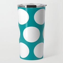 Large Polka Dots: Teal Travel Mug