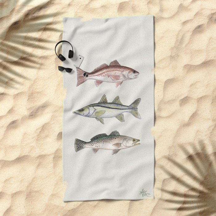 """""""Inshore Slam!"""" by Amber Marine ~ Redfish, Snook, & Trout Watercolor Illustration, (Copyright 2013) Beach Towel"""