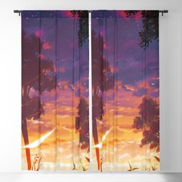 Girl In Beautiful Meadow At Romantic Evening Red Anime Scenery Ultra High Definition Blackout Curtain