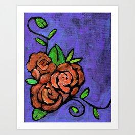 Orange Whimsical Roses Art Print
