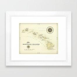 Hawaiian Islands [vintage inspired] map print Framed Art Print