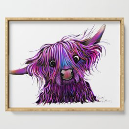 HiGHLaND CoW PRiNT SCoTTiSH ' HuCKLeBeRRY W ' BY SHiRLeY MacARTHuR Serving Tray