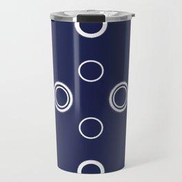 navy white circles Travel Mug