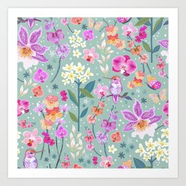 Orchid Garden on Sage Green Art Print