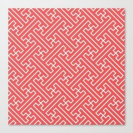 Lattice - Coral Canvas Print