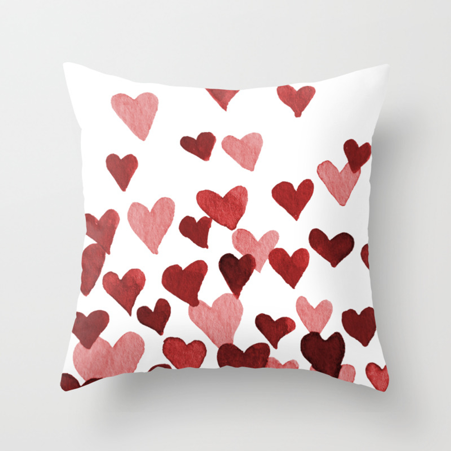 Valentine S Day Watercolor Hearts Red Throw Pillow By Wackapacka Society6