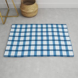Blue and White Jagged Edge Plaid Rug