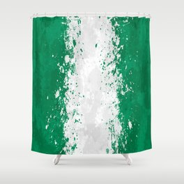 Nigeria Flag - Messy Action Painting Shower Curtain