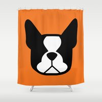 boston terrier Shower Curtains featuring Boston Terrier by smooshfaceunited