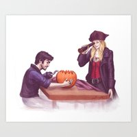 captain swan Art Prints featuring Captain Swan Halloween by Svenja Gosen