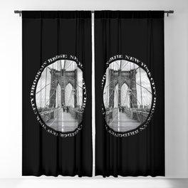 Brooklyn Bridge New York City (black & white with text on black) Blackout Curtain