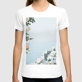 Positano landscape with white flowers T-shirt