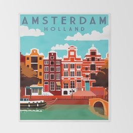 Vintage Amsterdam Holland Travel Throw Blanket