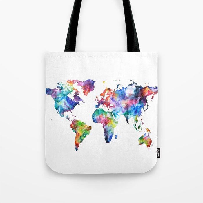 World Map Watercolor Painting Tote Bag
