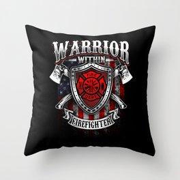 Warrior Within Firefighter - Fire Department Axe Throw Pillow
