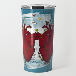 two hearts beating as one Travel Mug