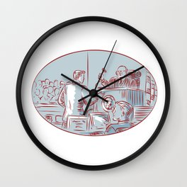 Judge Defendant Courtroom Etching Wall Clock