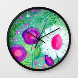 White Flowers, Purple Flowers, Floral Painting for Girl, Nursery Decor, Green, Blue, Coral Art Wall Clock