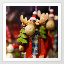 Christmas ornament Santa Claus Moose Art Print
