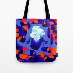 Modern Blue White Iris Orange Saffron Black Design Tote Bag