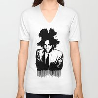 basquiat V-neck T-shirts featuring BASQUIAT DRIP by KING