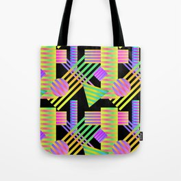 Neon Ombre 90's Striped Shapes Tote Bag