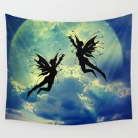 fairies Wall Tapestries featuring Moon Fairies by haroulita