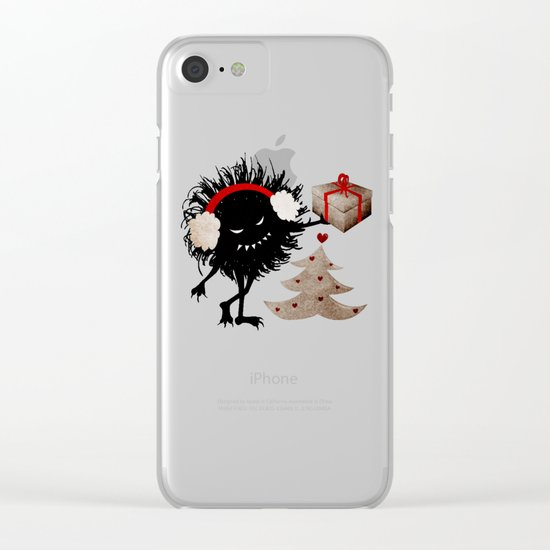 Evil Bug Gives Christmas Present Clear iPhone Case