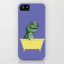 Playful T-Rex in Bathtub in Purple iPhone Case