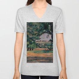 """Paul Cezanne """"The Neighborhood Of Jas De Bouffan"""" Unisex V-Neck"""