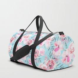 mediterranean summer flowers on turquoise Duffle Bag
