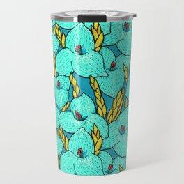 Blue Puya, Floral Pattern, turqouise, teal and yellow Travel Mug
