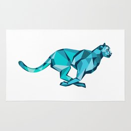 Cheetah Full Speed Running Low Poly Rug