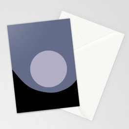 Full Moon Minimalism - Blue Stationery Cards