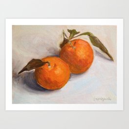 Two Mandarines Orange Fruit Still Life Painting Art Print