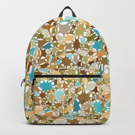 Abstract Starburst Mosaic // Turquoise, Caribbean Blue, Green, Brown // Digital Paint Splotches Backpack
