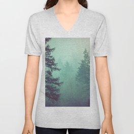 Forest Fog Fir Trees Unisex V-Neck