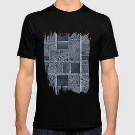 Blue Jeans Denim Patchwork Pattern T-shirt