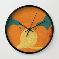 charizard Wall Clocks featuring Charizard by JHTY