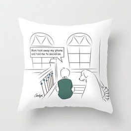Get Off Your Phone and Socialize Throw Pillow