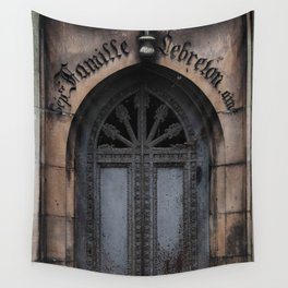 Gothic Door at Pere Lachaise Cemetery Paris Wall Tapestry