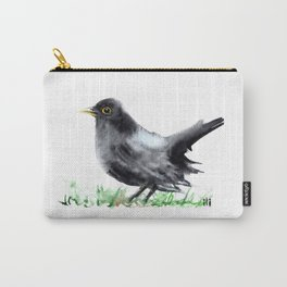 Watercolor Cute Blackbird Painting by ili Carry-All Pouch
