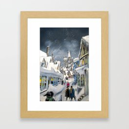 Snowy Hogsmeade Framed Art Print