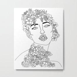Floral Woman Line Art Black And White Metal Print
