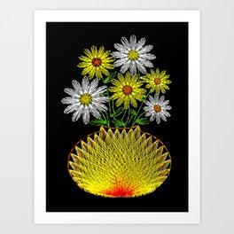 String Art Flowers Art Print