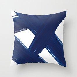 Indigo Abstract Brush Strokes | No. 3 Throw Pillow