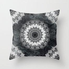 MONOCHROME BOHOCHIC MANDALA Throw Pillow