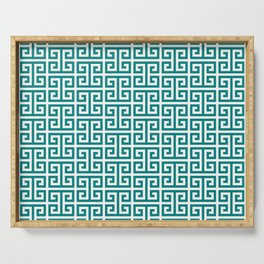 Teal and White Greek Key Pattern Serving Tray