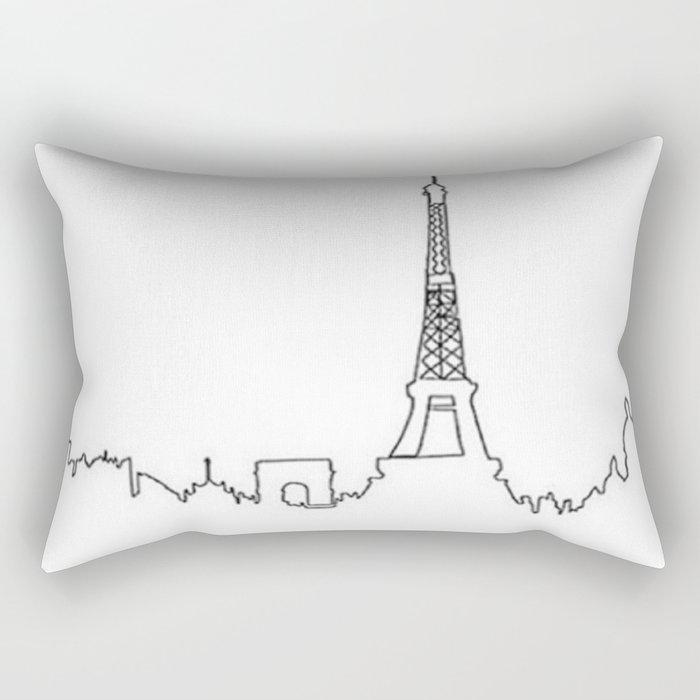Paris, France Outline (Eiffel Tower, Notre Dame) Rectangular Pillow