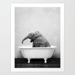 Baby Elephant Taking A Bath Art Print